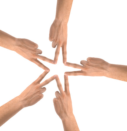 United hands isolated on white Conceptual photo of teamwork photo