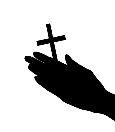 female hands with crucifix isolated on white  photo
