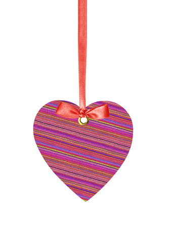 Textile Tag Label Heart with ribbon bow isolated on white  photo