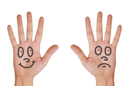 Hands with smile faces isolated on white background photo