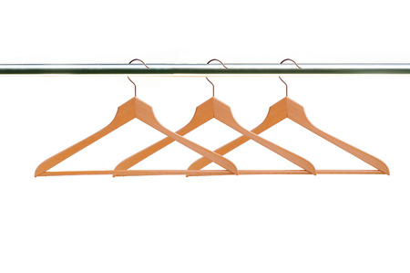 wooden clothes hangers isolated on white  Stock Photo