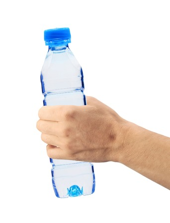 Human hand holding a bottle of water isolated on white photo