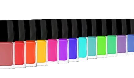 Group of bright nail polishes isolated on white background photo