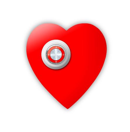 Heart locked as a safe. Illustration illustration