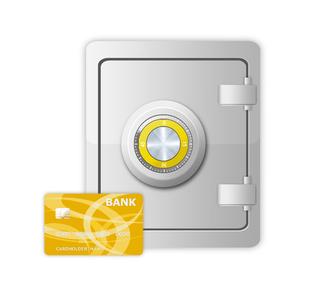 metal safe with mechanical code lock and credit card on white background photo