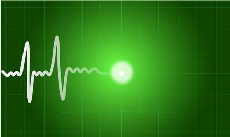 pulsating: Green heart beat. Ekg graph