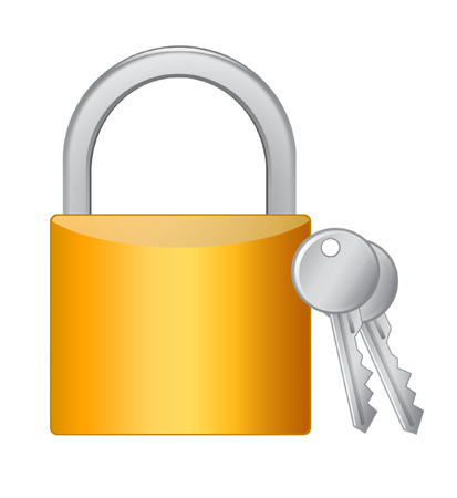 Golden padlock with keys on white  Vector