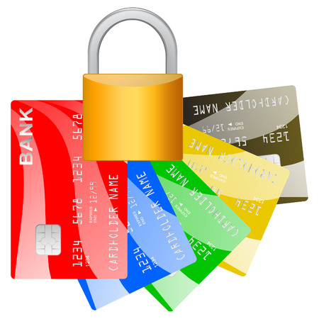 Realistic credit cards and pad lock over white