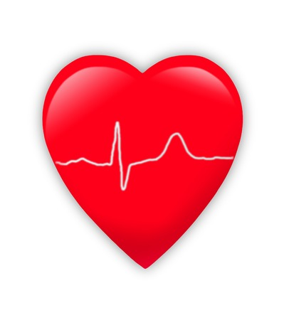 cordial: red heart with cardiogram isolated on white