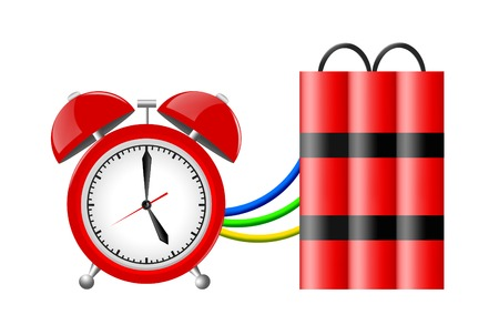 Time bomb with alarm clock detonator. Dynamite. Countdown.