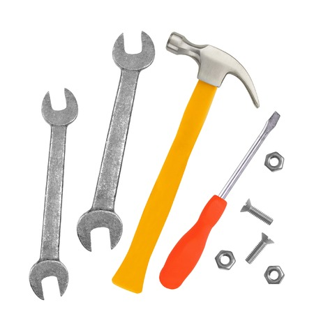 Hammer, screwdriver and wrenches isolated on white  photo