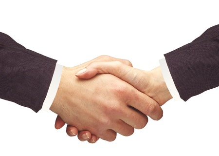 business networking: Handshakings isolated on white