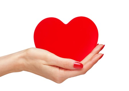 Red heart in woman hands isolated on white background photo