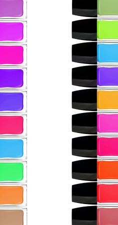 set of colorful nail polishes isolated on white background photo