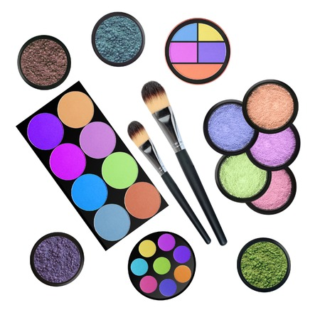 set of 5 eyeshadows and brushes isolated on white background photo