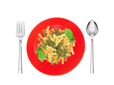 Delicious colorful spaghetti with basil on plate on white background photo