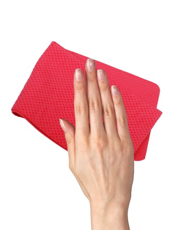 Hand wiping surface with red rag isolated on white Stock Photo - 27083106
