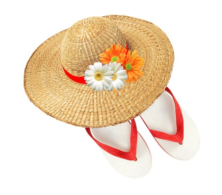 woman hat with flowers and flip flops isolated on white background photo