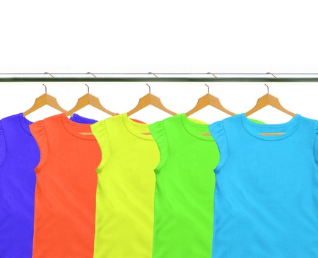 Clothes on circle hanger isolated on white background photo