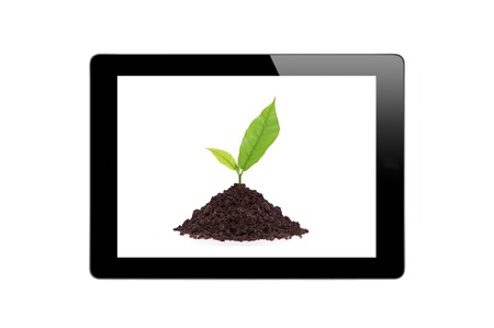 Black Touch Screen Tablet and Young plant in ground isolated on white background photo