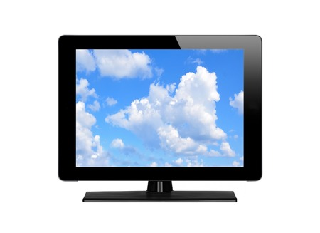 plazma: Modern TV screen and blue sky isolated on white background Stock Photo