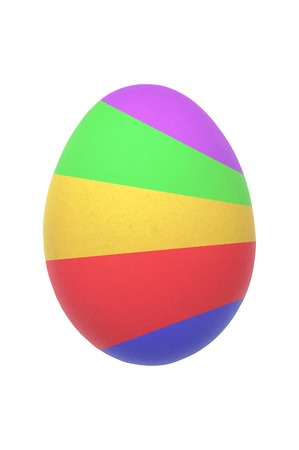 field stripped: Colorful easter egg isolated on white background Stock Photo