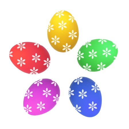 Colorful Easter Eggs isolated on white photo