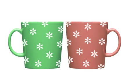 Colorful coffee mugs on white background photo