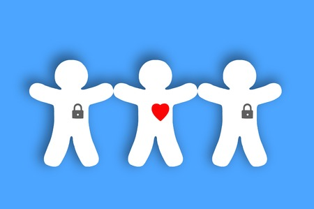 Paper white people with locked hearts over blue background photo