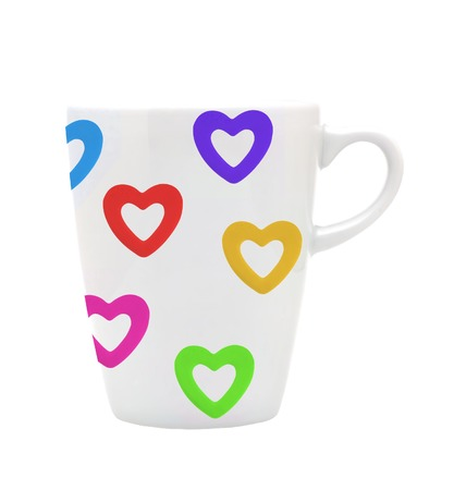 White cup white colorful hearts isolated on white photo