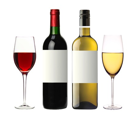 bottles of red and white and glasses wine isolated on white background photo