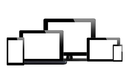 Tablet pc, mobile phone and computer isolated on white background photo
