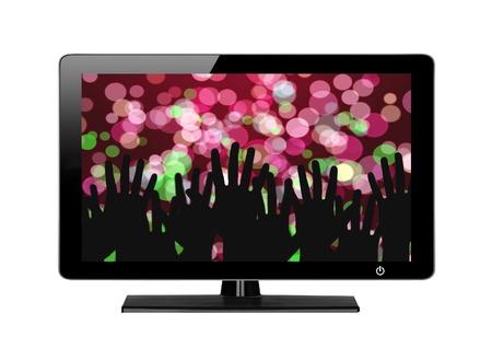 plazma: Modern TV screen Festive lights isolated on white background