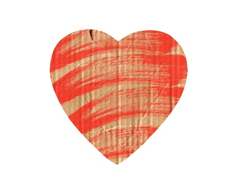 cardboard heart with red paint isolated on white photo