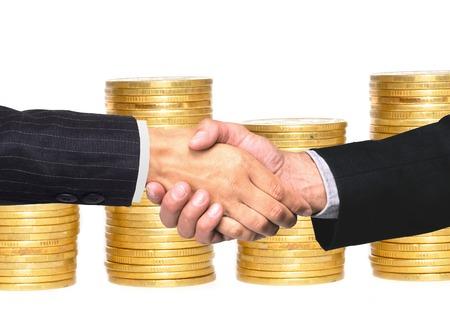 Handshakings over golden coins