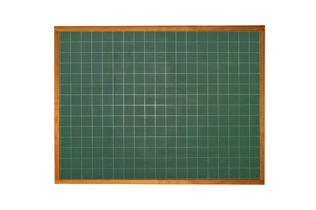 Blank blackboard with wood frame isolated on white background photo