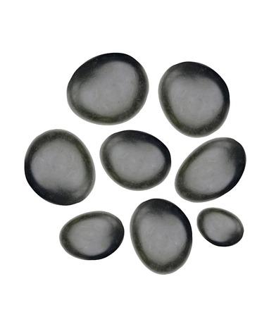 stones isolated: Black spa stones isolated on white Stock Photo