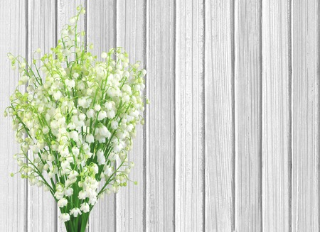 lilies of the valley flowers on color wooden planks background photo