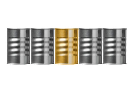 Tin cans isolated on white background photo