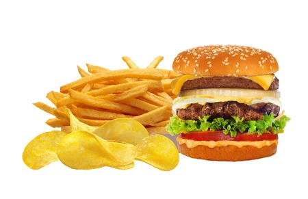 food dish: French fries in white box and cheeseburger isolated on white