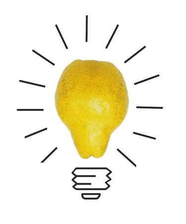 crumpled paper ball: Inspiration concept yellow pear as light bulb metaphor for good idea