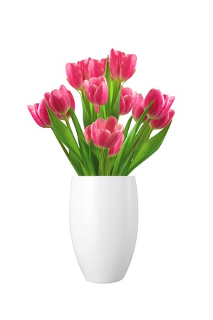 tulips isolated on white background: Bouquet of pink tulips in vase isolated on white background