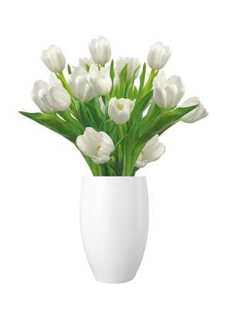 tulips isolated on white background: Bouquet of white tulips in vase isolated on white background