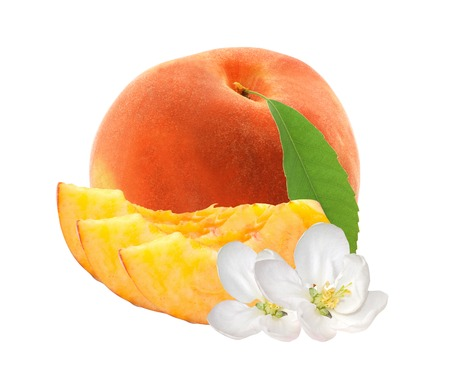 fresh sweet peach with green leaf isolated on white background photo