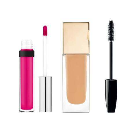 lipgloss: foundation, mascara, lipgloss isolated on white background