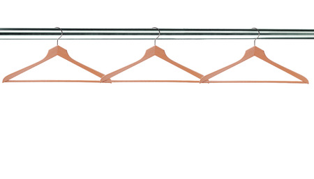 hangers: wooden clothes hangers isolated on white background