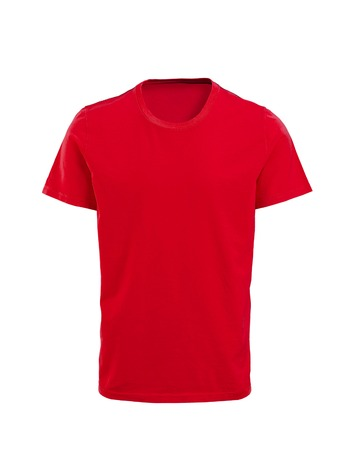 red and blue: Male red t-shirt isolated on white background Stock Photo