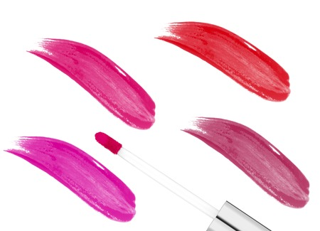 red lip: pink lipgloss isolated on white background