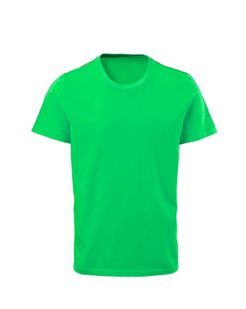 Green male t-shirt isolated on white background