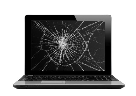 damaged: Black laptop with broken screen isolated on white background